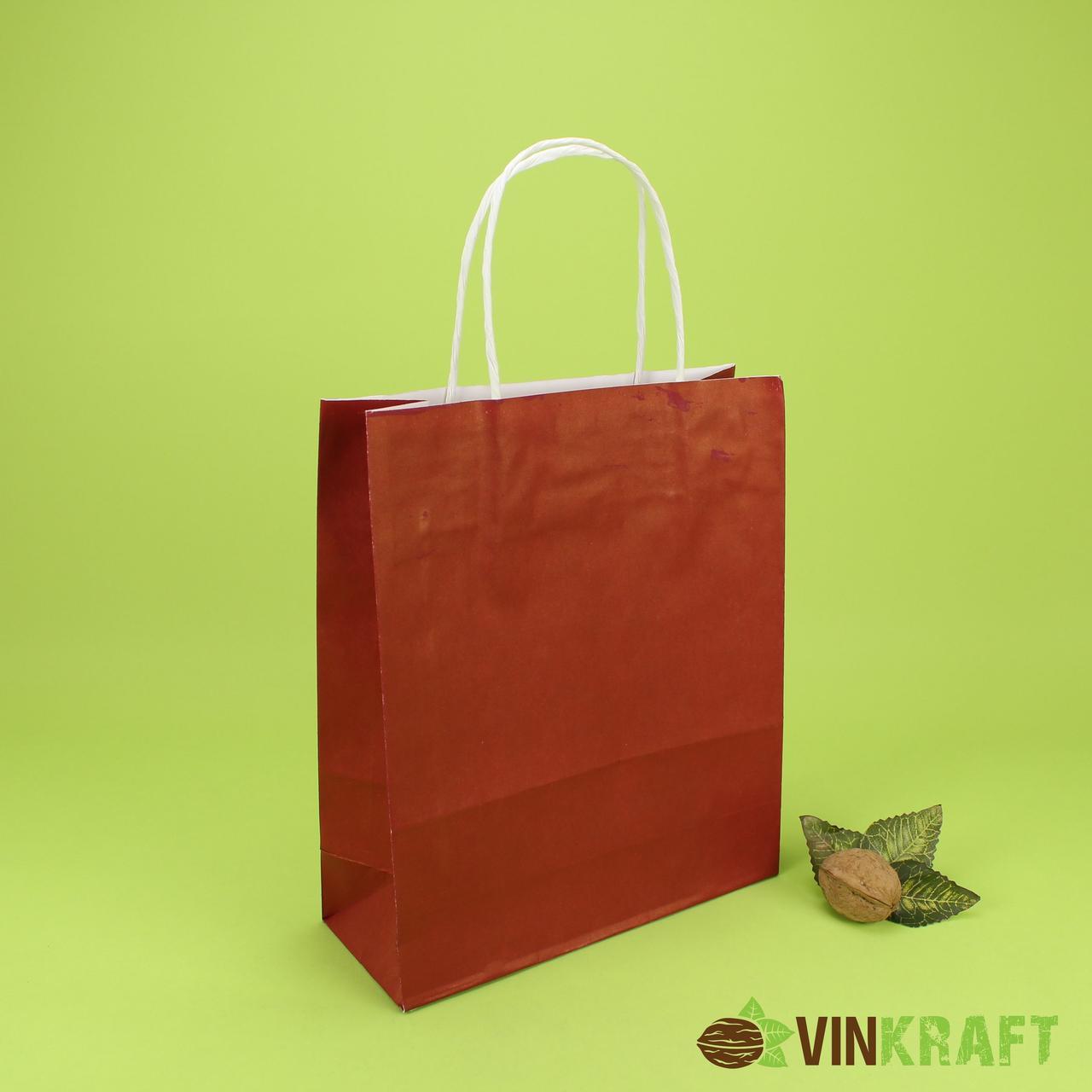 Пакет паперовий з ручками 200*80*240 (100г/м2) (3 кг), бордовий