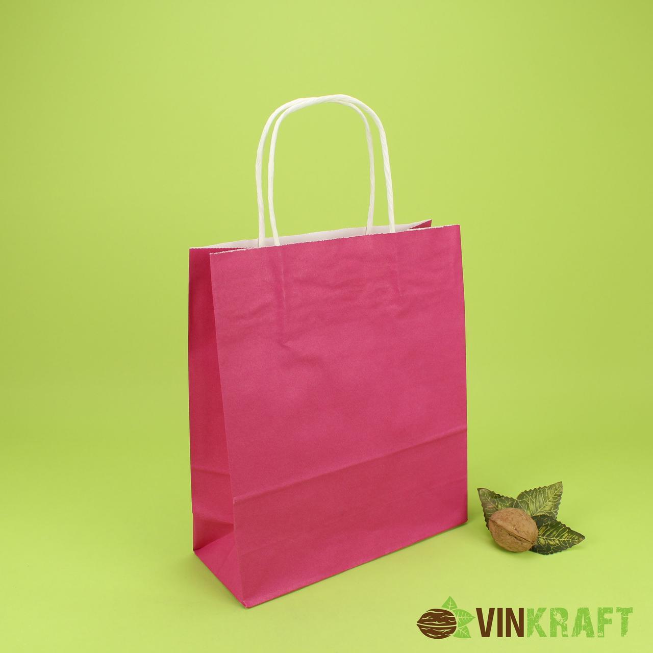 Пакет паперовий з ручками 200*80*240 (100г/м2) (3 кг), малиновий