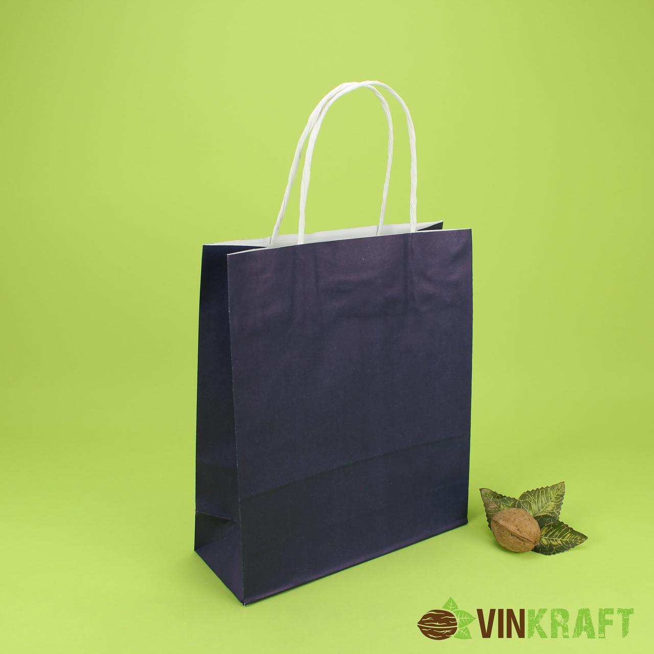 Пакет паперовий з ручками 200*80*240 (100г/м2) (3 кг), синій