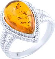 Серебряное кольцо SilverBreeze с янтарем (1891230) 18 размер