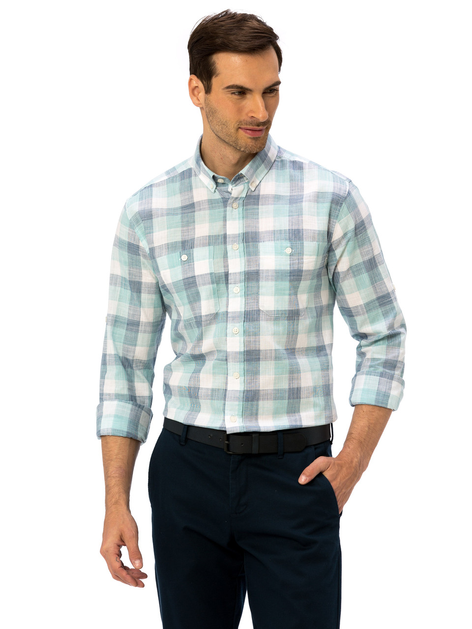 Белая мужская рубашка LC Waikiki / ЛС Вайкики в зеленую и синюю клетку