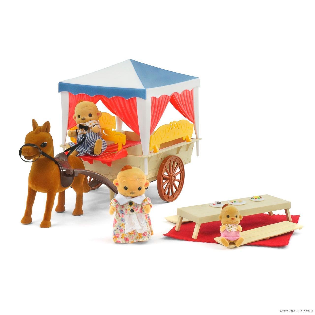 Карета домик с плюшевыми животными happy family 012-06 аналог sylvanian families, для ЛОЛ