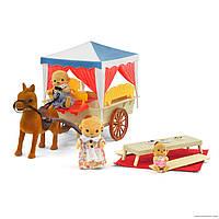 Карета домик с плюшевыми животными happy family 012-06 аналог sylvanian families, для ЛОЛ, фото 1