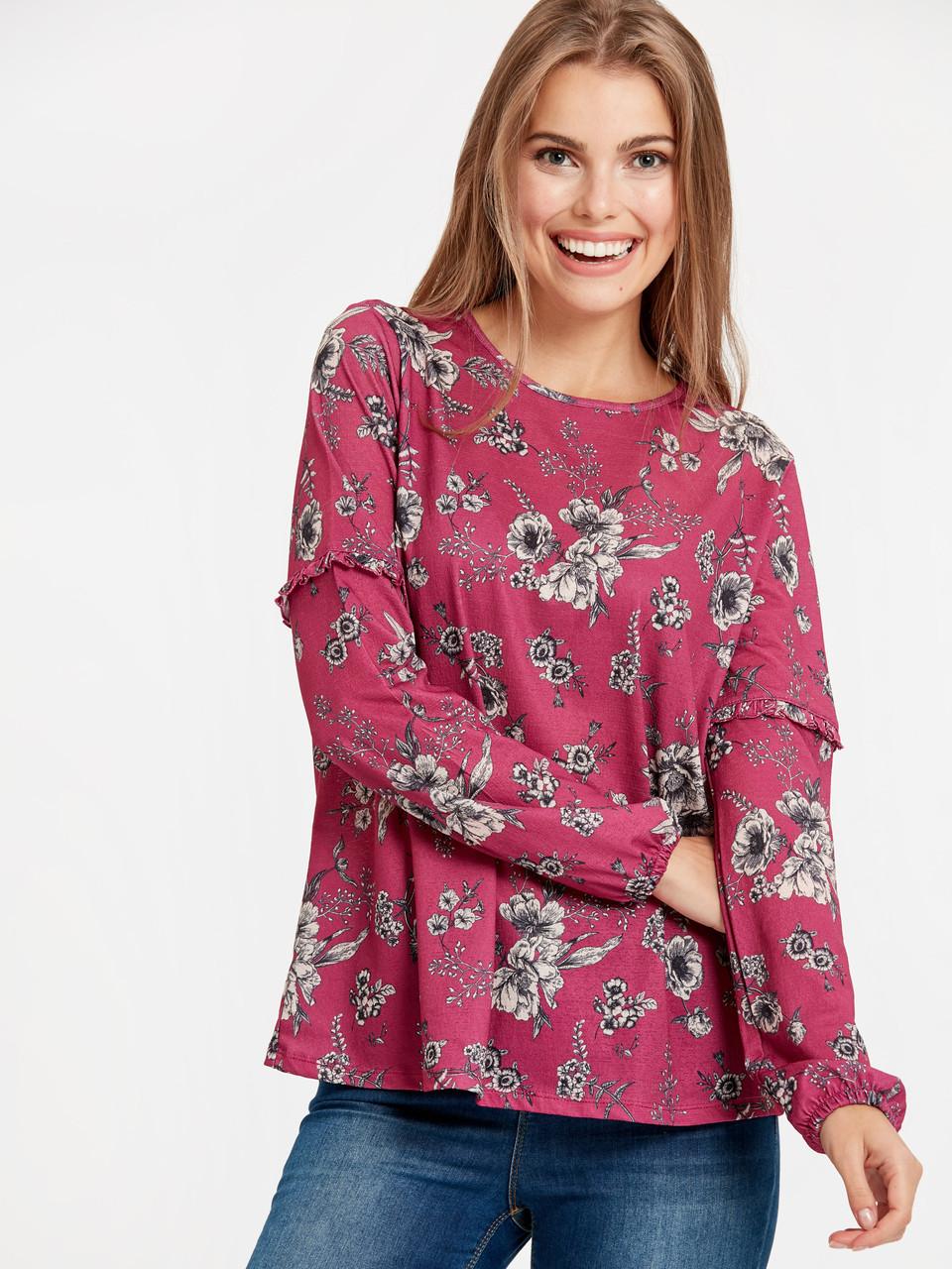 Розовая женская кофта LC Waikiki / ЛС Вайкики с цветочным принтом