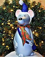 """Символ года, пластиковая игрушка под елку""""Мышка """". Высота 30 см. Цвет синий."""