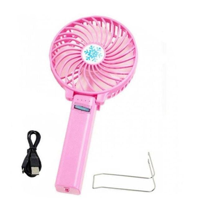 Портативный ручной или настольный мини вентилятор Mini Fan с USB зарядкой | Розовый