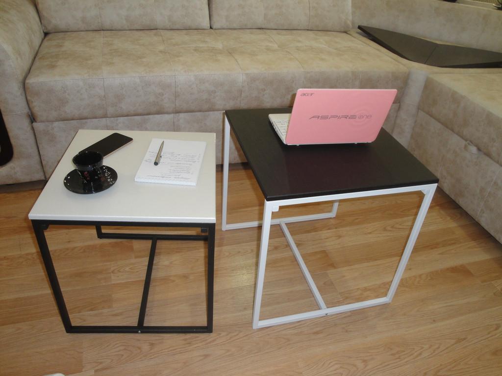 Кубы. Столики в стиле лофт. Черно-белый комплект