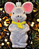 """Символ года. Игрушка на елку из пластика """"Мышка"""". Высота 9 см. Пушистая. Цвета в ассортименте., фото 1"""