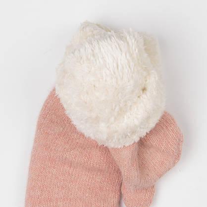 Женские зимние варежки из ангоры с мехом (арт. 19-5-56) розовый, фото 2