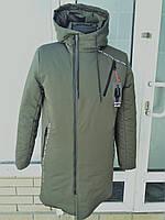 Мужская зимняя куртка с кпюшоном удлиненная молодежная
