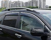 Комплект 4 шт. ветровиков дефлекторов на боковые окна HONDA CR-V 2007-2012 с хромом