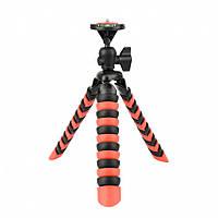 Трипод / Гибкий штатив h30 см для смартфона, GoPro, камеры Alitek Flexible Black/Red + уровень  (62081), фото 1