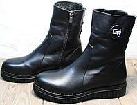 Кожаные ботинки полусапожки женские зимние с мехом без каблука. Зимние женские ботильоны ботинки высокие