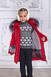 Зимове пальто на дівчинку, червоний, 122-146, фото 4