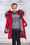 Зимове пальто на дівчинку, червоний, 122-146, фото 5