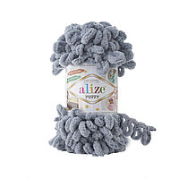 Пряжа Alize Puffy 428 средне-серый (Пуффи Ализе) для вязания без спиц руками