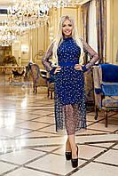 Нарядное платье из дайвинга с сеткой синее