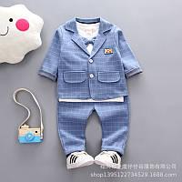 Детский нарядный голубой костюм в клетку для мальчика.Детский костюм на праздник.Размеры: 80,90,100,110