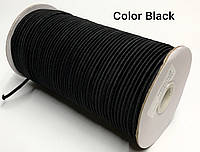Резинка шляпная 3мм Черная круглая 100м