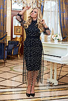 Шикарное платье из дайвинга с сеткой черное