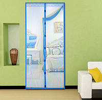 Москитная сетка на магнитах на дверь Magic Mesh голубой
