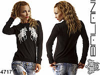 Женский свитшот черный с лошадками