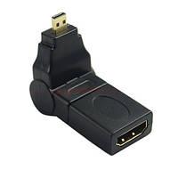 HDMI F to micro HDMI M соединитель переходник адаптер угловой поворотный (на 360 градусов) (39119)