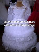 Детское бальное пышное БЕЛОЕ платье на утренник, праздник,новый год