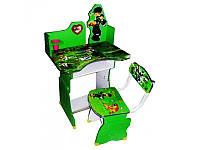 Детская парта 501 B10 Ben 10, регулируемая высота со стульчиком, зеленый