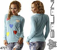 Женский свитшот с сердечками, фото 1