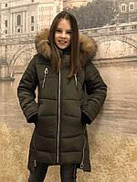 Детская одежда.  Пальто зимнее - Маргарет(хаки)