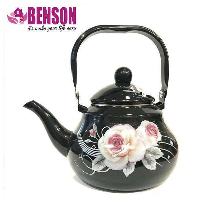 Эмалированный чайник с подвижной ручкой Benson BN-101 1,5 л | Черный с рисунком