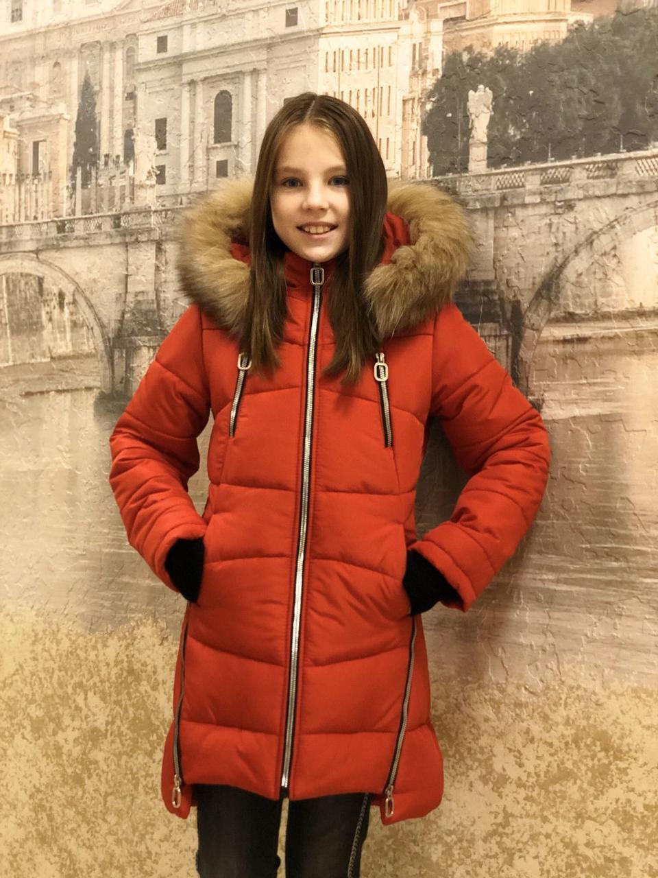 Детская одежда.  Пальто зимнее - Маргарет(красный)
