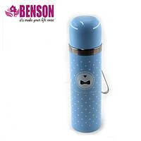 Вакуумный детский металлический термос Benson BN-56 350 мл | Голубой