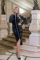 Платье кожаное со змейкой черное