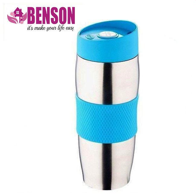 Термокружка металлическая с поилкой Benson BN-40 380 мл | Голубая
