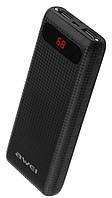 Внешний акумулятор Power Bank Awei P70K 20000 mah с экраном и фонарями Black