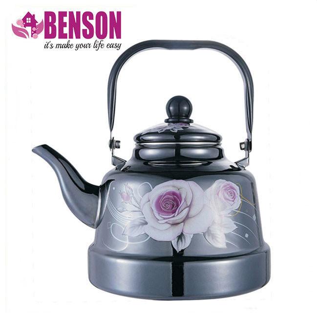 Эмалированный чайник с подвижной ручкой Benson BN-104 1.1 л | Черный с рисунком