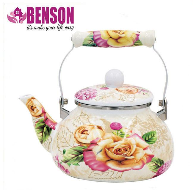 Эмалированный чайник с подвижной керамической ручкой Benson BN-108 2.5 л | Белый с рисунком