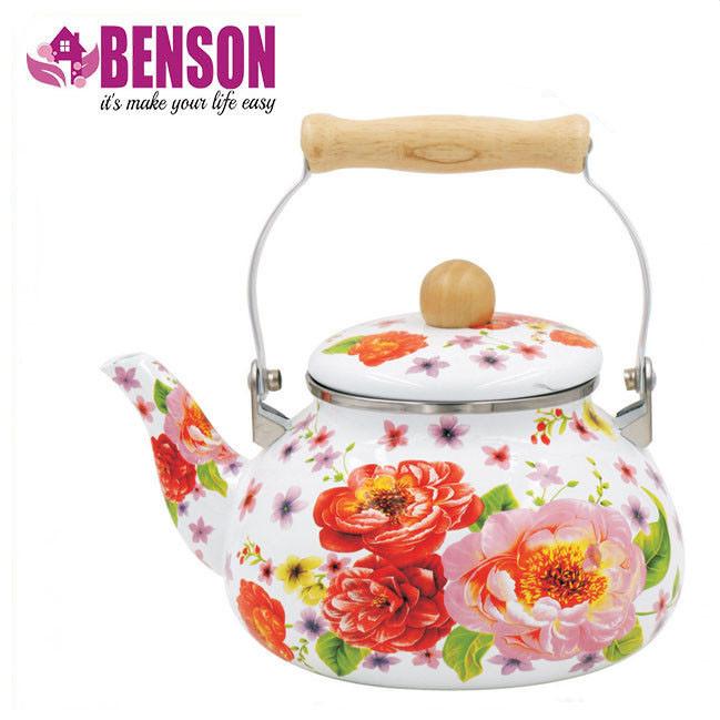 Эмалированный чайник с подвижной деревянной ручкой Benson BN-109 2.5 л   Белый с рисунком