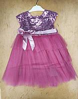 Платье на девочку хлопок, фатин, 5-6-7-8 лет,верх паетки, розовый