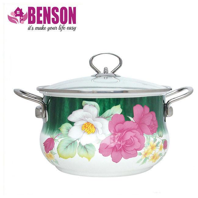 Эмалированная кастрюля с крышкой Benson BN-113 3.6 л | Белая с цветочным декором