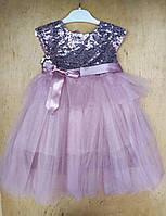 Платье на девочку хлопок, фатин, 5-6-7-8 лет,верх паетки, сиреневый