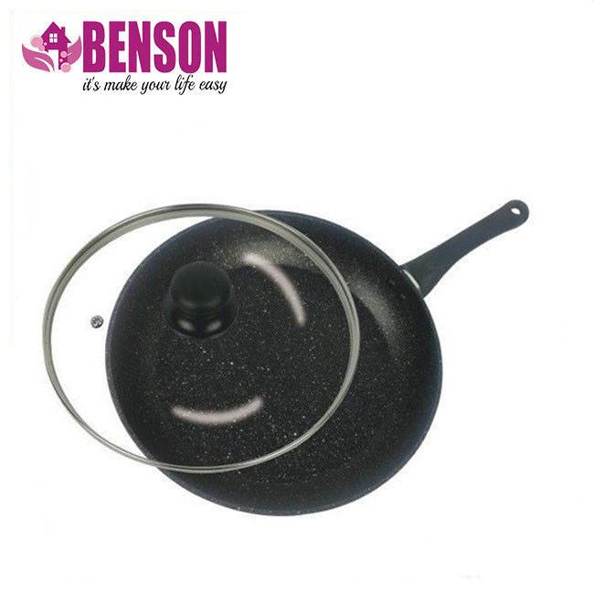 Сковорода с антипригарным мраморным покрытием с крышкой Benson BN-501 22*4,5 см