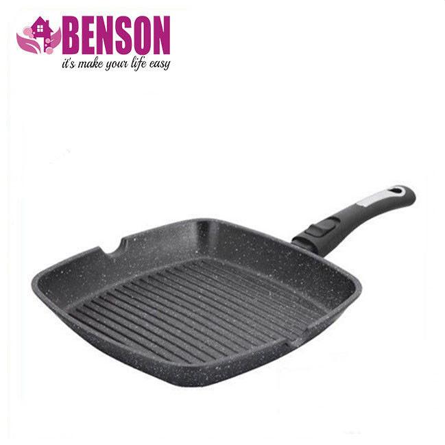 Сковорода-гриль мраморное покрытие Benson BN-311 28*28*4 см | Сковородка со съемной ручкой SOFT TOUCH