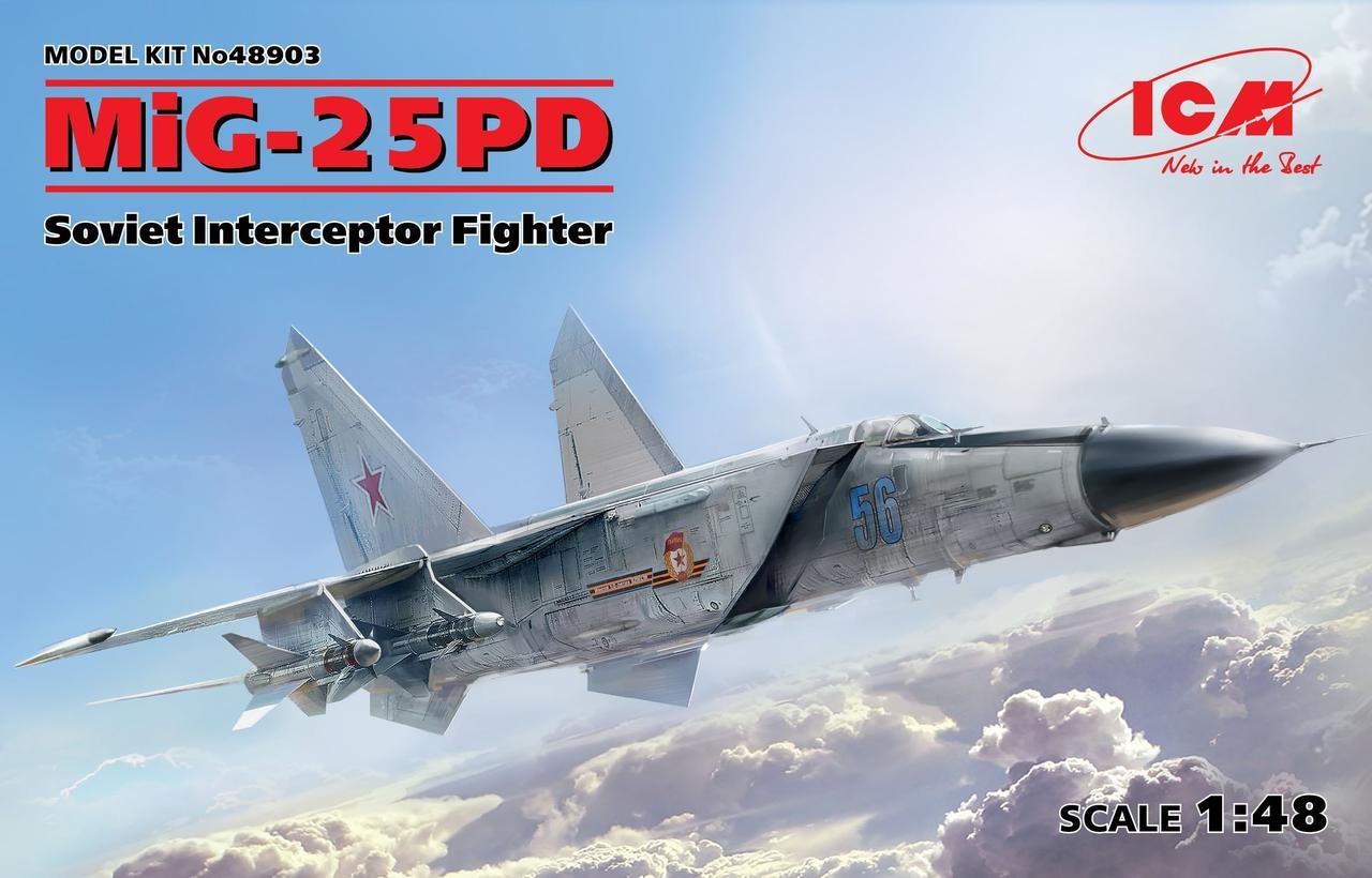МиГ-25ПД. Сборная модель советского истребителя перехватчика в масштабе 1/48. ICM 48903