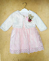 Платье на девочку интерлок, фатин, велсофт, 2-3-4-5 лет, розовый