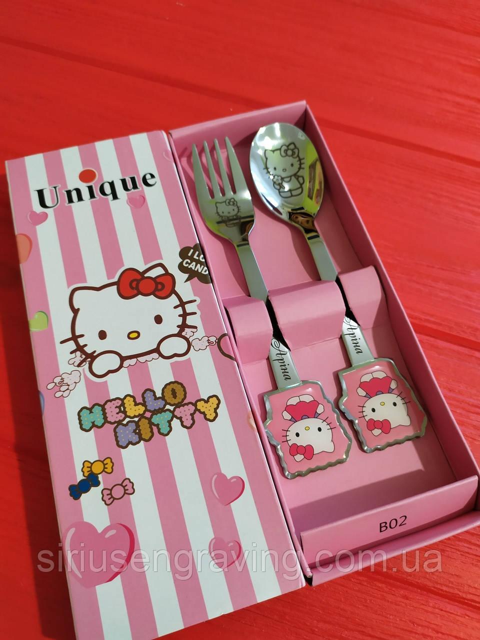 Именные ложечки и вилочки с Hello Kitty