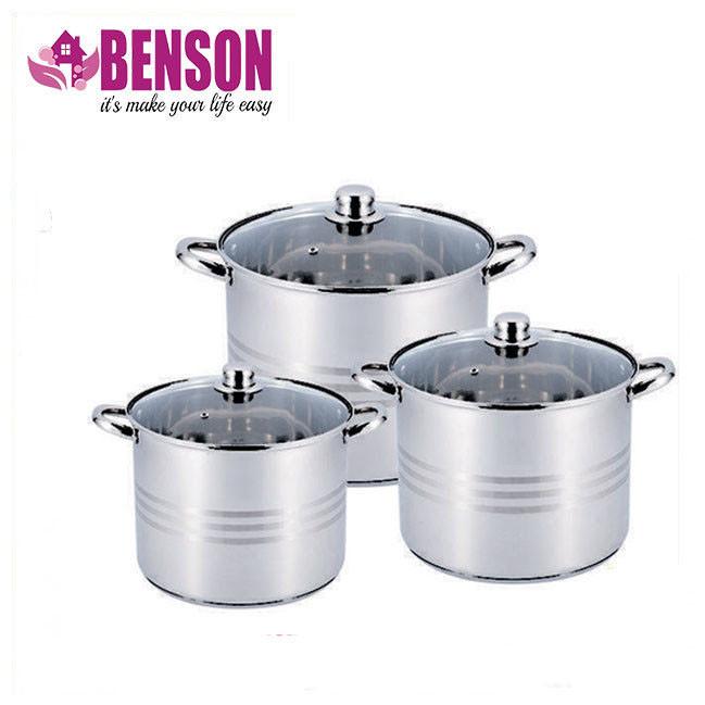 Набор кастрюль из нержавеющей стали 6 предметов Benson BN-215 11 л, 13 л, 16 л