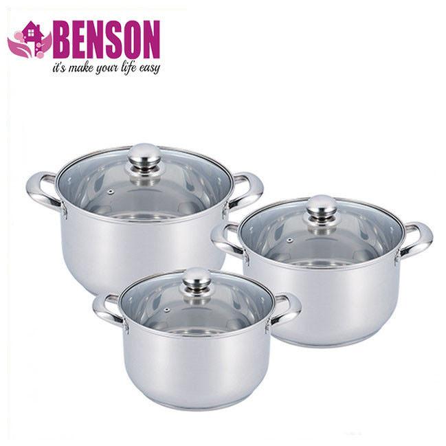 Набор кастрюль из нержавеющей стали 6 предметов Benson BN-213 8,5 л, 10 л, 14 л
